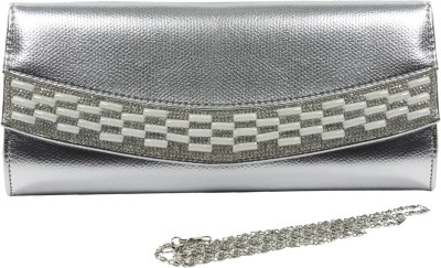 Dolna Women, Girls Casual, Festive, Party Silver  Clutch