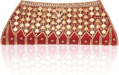 fashion 360 Festive, Party, Wedding Red, Gold  Clutch