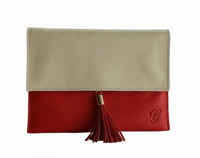 Gripp Casual, Party, Formal, Festive Red, White, Beige  Clutch