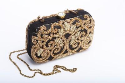 Silk&Sequins Women Formal Black, Gold  Clutch
