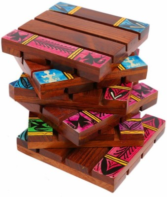 Indikala Square Wood Coaster Set(Pack of 6)