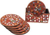 Frabjous Round Wood Coaster Set(Pack of 6)