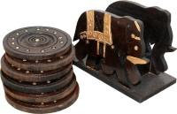 Soujanya Round Wood Coaster Set(Pack of 6)