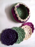 Expression Crafts Round Cotton Coaster Set(Pack of 4)