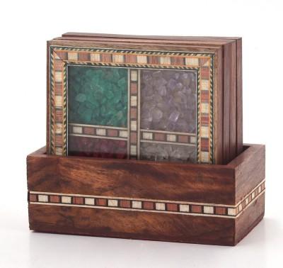Shresth Lifestyles Square Wood, Gemstone Coaster Set