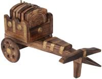Khushal Square Wood Coaster Set(Pack of 6)