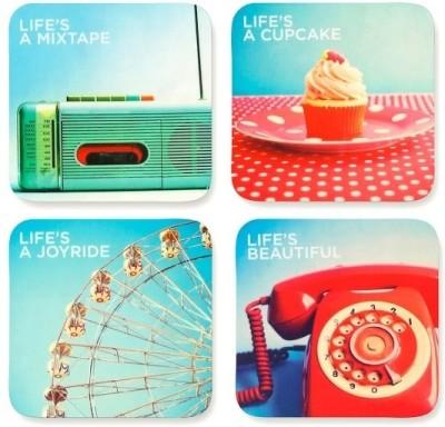 LetterNote Square Medium Density Fibreboard Coaster Set