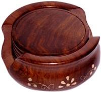 Decorhand Round Wood Coaster Set(Pack of 6)
