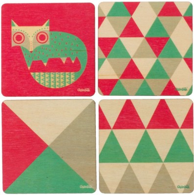 Chumbak Square Wood Coaster Set(Pack of 4)