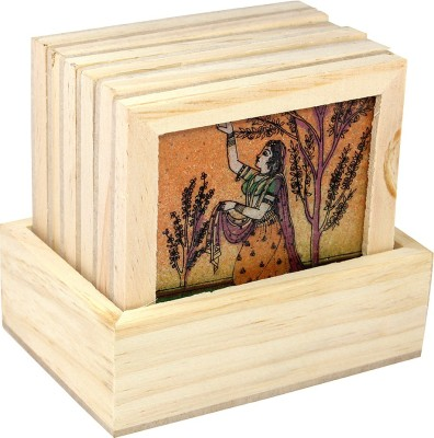Ranvijay Square Wood Coaster Set