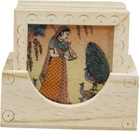 Frabjous Square Wood Coaster Set(Pack of 5)