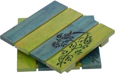 Unravel India Square Wood Coaster Set