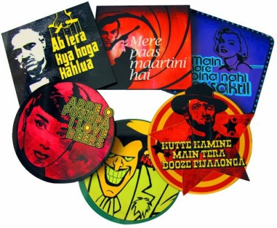 Tappu Ki Dukaan Round Wood Coaster Set