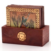 Little India Square Wood Coaster Set(Pack of 7)