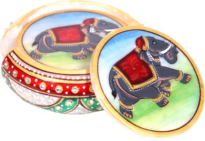 Arjaa India Round Marble Coaster Set