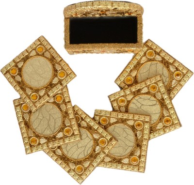 Falak Handicrafts Square Wood Coaster Set