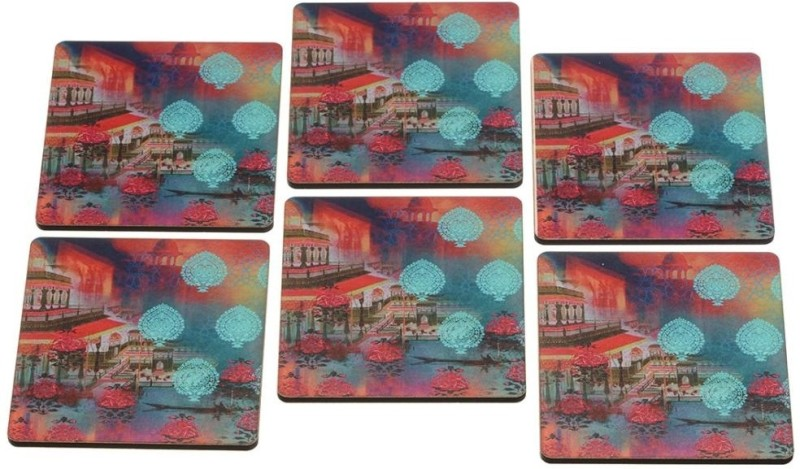2ndmay Square Wood Coaster Set(Pack of 6)