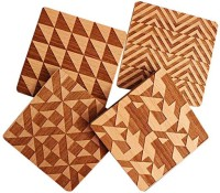 Engrave Square Wood Coaster Set(Pack of 4)