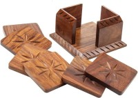 RGRANDSONS Square Wood Coaster(Pack of 6)