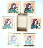 Seema's Craft Creation Square Wood Coaster Set(Pack of 6)