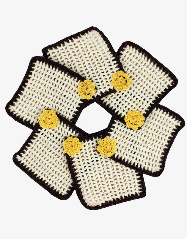 moKanc Square Cotton Coaster Set(Pack of 6)