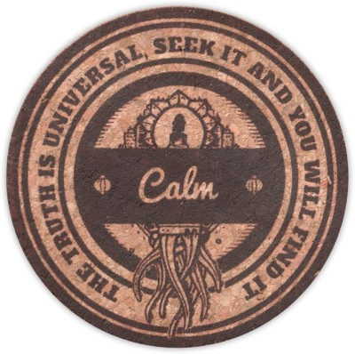 Kingdom Of Calm Round Cork Coaster Set
