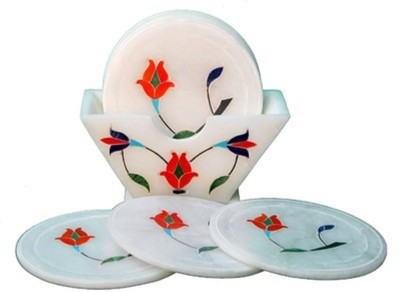 Anshul Fashion Round Marble Coaster Set