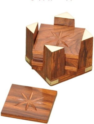 Jupiter Gifts and Crafts Square Wood Coaster Set