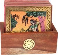 Bhavikaa Square Wood Coaster Set(Pack of 6)