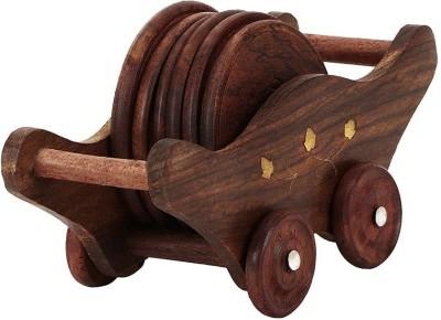Derien Round Wood Coaster Set