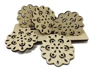 Kartprint Round Wood Coaster Set(Pack of 5)