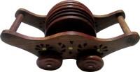 JaipurCrafts Round Wood Coaster Set(Pack of 7)