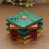 Unravel India Square Wood Coaster Set(Pack of 7)