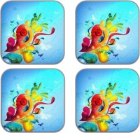 meSleep Square Wood Coaster Set(Pack of 4)