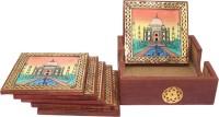 Frabjous Square Wood Coaster Set(Pack of 6)