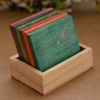 Unravel India Square Wood Coaster(Pack of 6)