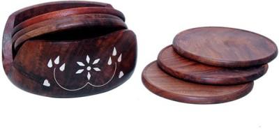 Desi Karigar Round Wood Coaster Set