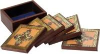 Craftshopi Square Wood Coaster Set(Pack of 6)