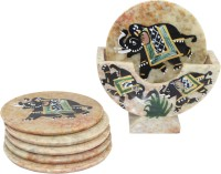 Frabjous Round Marble Coaster Set(Pack of 6)