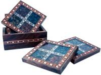 Ufc Mart Square Wood Coaster Set(Pack of 7)