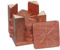 Woodino Handicrafts Square Wood Coaster Set(Pack of 7)