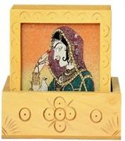 CraftedIndia Square Wood Coaster(Pack of 6)