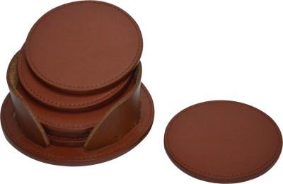 Knott Round Leather Coaster Set