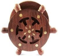 Craftatoz Round Wood Coaster Set(Pack of 6)