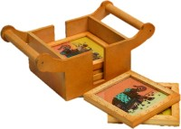 JaipurCrafts Square Wood, Stone Coaster Set(Pack of 6)