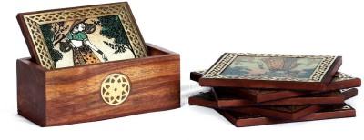 Traditional Rajasthan Square Wood Coaster Set