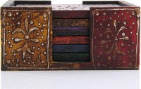 Adaa Square Wood Coaster Set(Pack of 6)