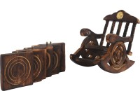 Miraya Square Wood Coaster Set(Pack of 6)