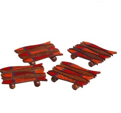Aapno Rajasthan Rectangle Wood Coaster Set