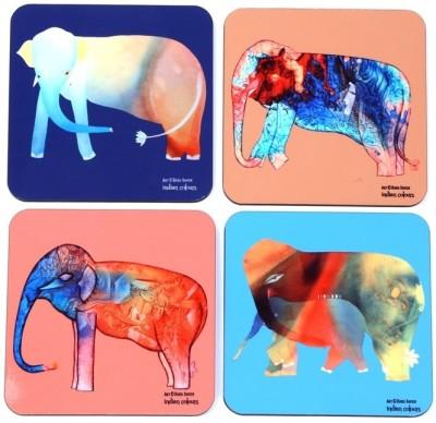 Indian Colours Square Wood Coaster Set